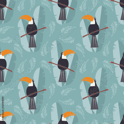 Cotton fabric Seamless pattern with cute jungle parrot toucan on blue background