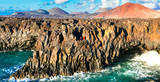 amazing Los Hervideros lava's caves in Lanzarote island, popular