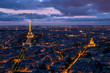 Paris aerial cityscape at sunset with Eiffel Tower