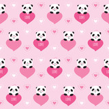 Seamless pattern with cute pandas and hearts. Wrapping paper for Valentines Day, Mothers Day, birthday, wedding. Doodles, sketch. Vector.