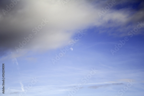 Blue sky with moon Poster
