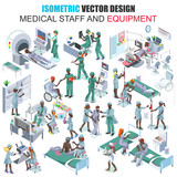 Isometric african descent medical staff people