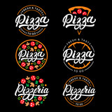 Set of pizza and pizzeria hand written lettering logo, label, badge.