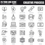 Thin line creative process icons