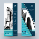 Set business roll up banner with geometric shapes. Abstract composition. City building image for brand flag. Info banner template. Interesting vector illustration. Cover design. Vertical flyer