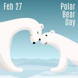 International Polar Bear Day card. Cute cartoon polar bear mom hugs her baby. Animal family. Children illustration.