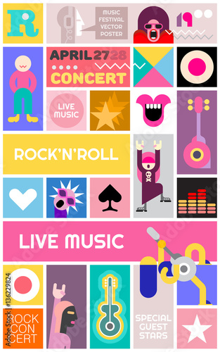 In de dag Abstractie Art Rock Concert Poster Template