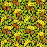Autumn seamless pattern with green leaves, red berries and poppy boxes - 136236003