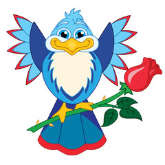 A Cute, Happy Bird Holding a Red Rose. White Background.