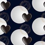 орнамент с блюдцами и сердцами на синем фоне, векторная иллюстрация