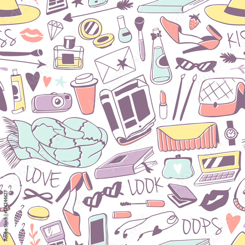 Cotton fabric Feminine stuff hand drawn seamless pattern vector illustration.