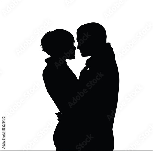silhouette of a couple in love, man and woman, embracing on a white background, vector image