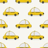 Seamless pattern with yellow taxi