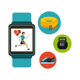 smart watch with healthy lifestyle icon set over white background. colorful design. vector illustration