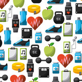 wallpaper of healthy lifestyle related icons. colorful design. vector illustration