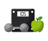 weight scale device, dumbbell and apple fruit icon over white background. healthy lifestyle concept. vector illustration
