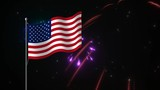 A vibrant, colorful animated fireworks display framed against a starry night sky with an American flag flying in the air, a symbol patriotism and the July fourth holiday.  .