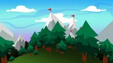 Animated mountain scenery highlighting snowy mountaintops and evergreen trees that are framed by grassy terrain.