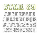 Slab serif contour font in sport style
