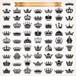 Big set of crown heraldic silhouette icons vector
