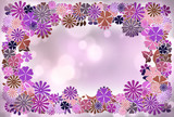 Bright floral frame isolated on purple background