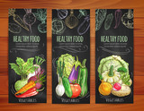 Healthy food banners with sketch vegetables