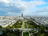 Beautiful panoramic view of Paris city in sunny weather