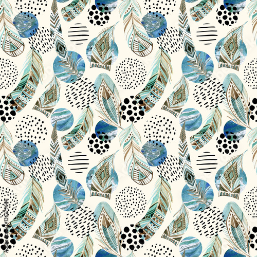 Cotton fabric Watercolor tribal feathers seamless pattern with abstract marble and grunge shapes
