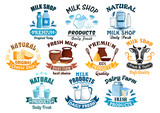 Milk shop and natural dairy products vector icons