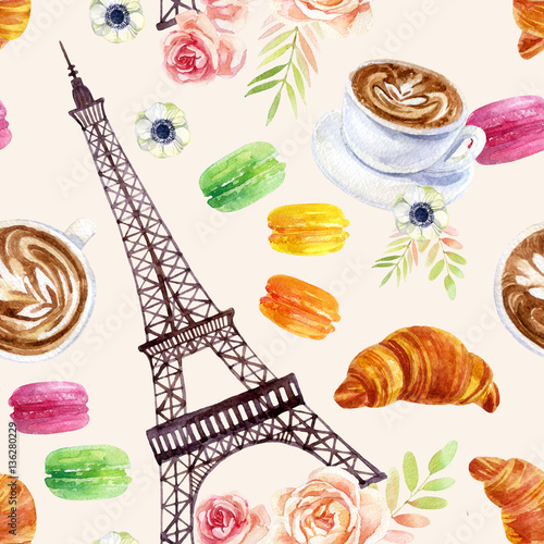 French watercolor seamless pattern © Tanya Syrytsyna