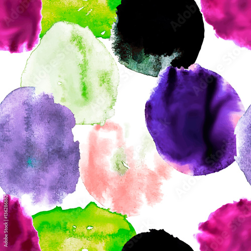 watercolor blots pattern, seamless vector design of a background - 136286882
