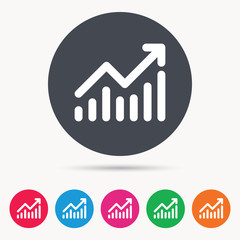 Graph icon. Business analytics chart symbol. Colored circle buttons with flat web icon. Vector