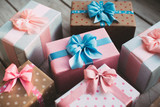 Gift boxes with bows.