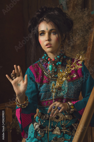 Plagát Stylized vintage portrait of young woman in ethno style