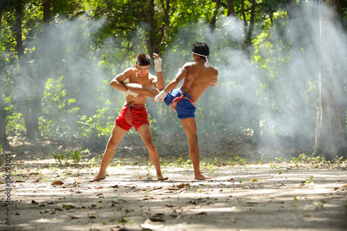 Muay thai fight boxing art and combat rope tied hand Poster