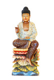 Wooden Buddha Statue, Sitting On Lotus Flower Isolated On White