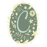 Floral Monogram Letter C - 136297802