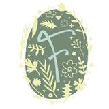 Floral Monogram Letter F - 136298042
