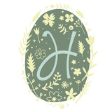 Floral Monogram Letter H - 136298221