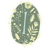 Floral Monogram Letter I - 136298277