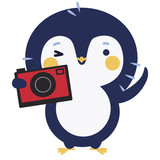 Cute penguin with photo camera - 136298612