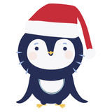 Cute penguin with Santa hat - 136298637