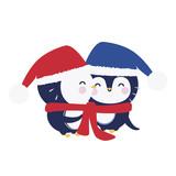 Cute penguin couple in love hug - 136298672