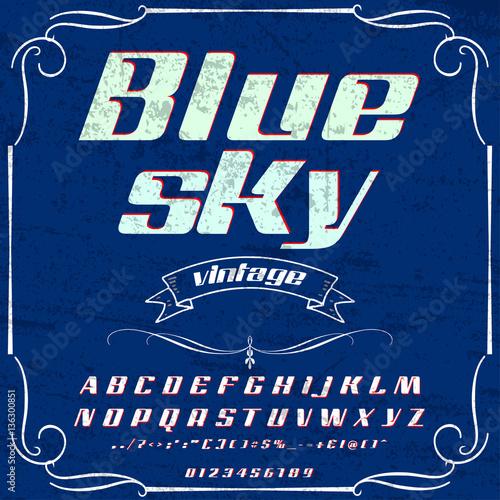 Font Typeface Script Blue sky- vintage script -font Vector