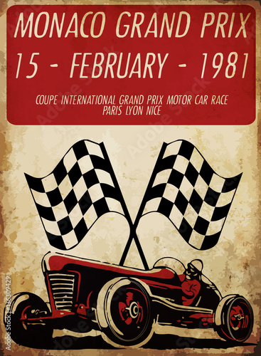 vintage race car for printing old school race poster.retr