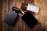 glass bottles of male perfume - 136313089