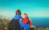 father and little daughter looking at beautiful view in Tenerife, Spain