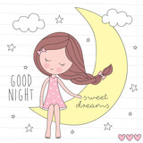 cute girl on the moon vector illustration