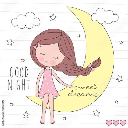 Fototapeta cute girl on the moon vector illustration