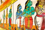 Close up view of wall painting, Kumbakonam, Tamilnadu, India - Dec 17, 2016